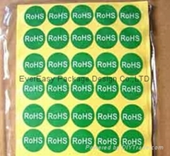 ROHS adhesive sticker in