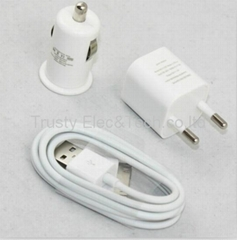 Black iPhone 3G 4G 4S Car Charger + Data Cable Car Charger Kit
