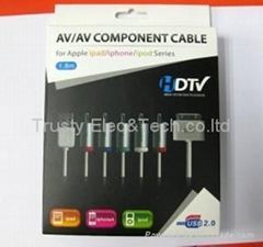 COMPONENT HDTV AV + USB CABLE FOR APPLE iPHONE 3G 3GS 4 4S NEW iPAD 2 3 iPOD