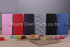 Ostrich Pattern Book Style Leather Case Cover for iPhone 5