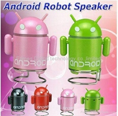 Android Robot Style Rechargeable FM/MP3 Player w/ Stereo Speaker, Micro SD input