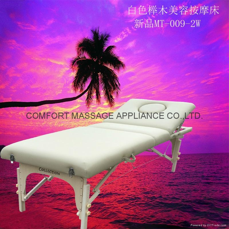 white beech massage table with adjustable backrest