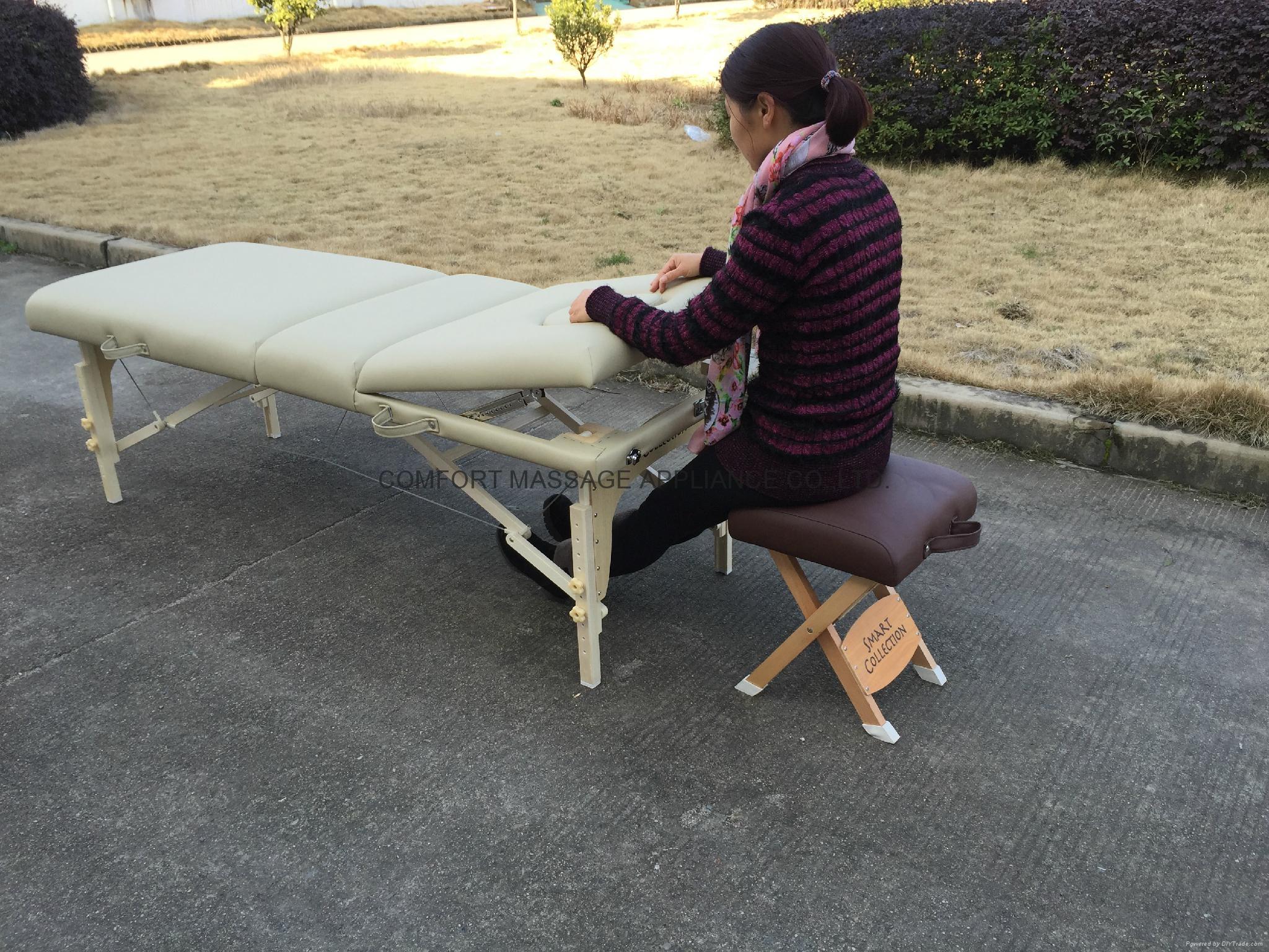 高檔白色櫸木料靠背調節按摩床美容床 2