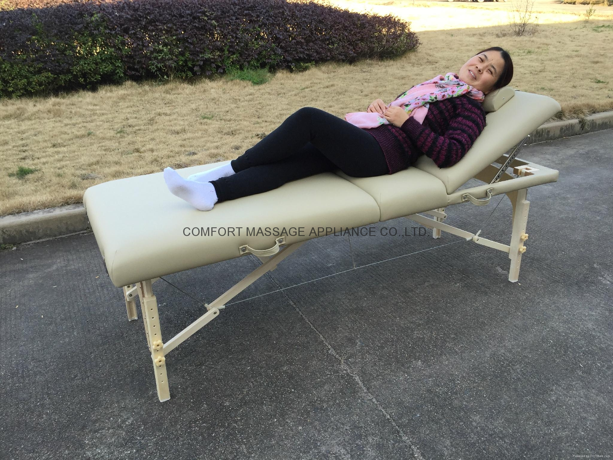高檔白色櫸木料靠背調節按摩床美容床 4