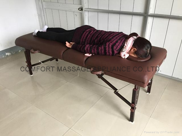 brown-red beech portable massage table with backrest MT-009-2H 6