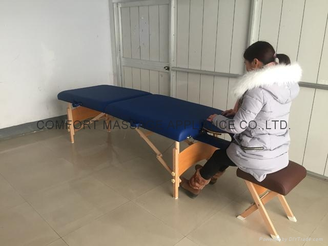 folded wooden massage table with adjustable headrest MT-006B 6
