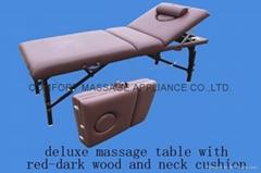 高檔紅棕色櫸木料折疊按摩床帶靠背調節