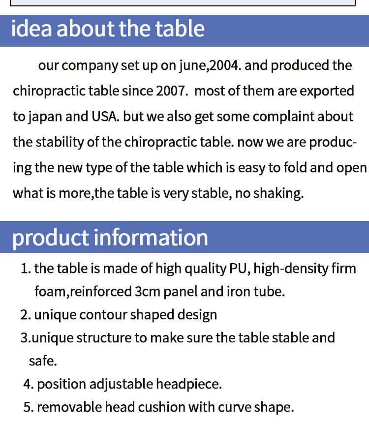 chiropractic table with adjustable height massage table examination table 2