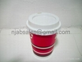 8oz Hot Single wall Paper Coffee cup with lids 3