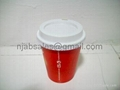 8oz Hot Single wall Paper Coffee cup with lids 5