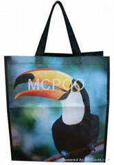non woven tote bag laminated colorful ads promotional bag