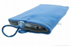 Blue Flannel Bag Case for iPhone 4 4S 3GS Cell Phone MP3 MP4 M322