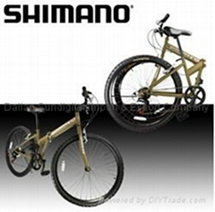 "NEW 26"" Folding Shimano Mountain Bike Bicycle Foldable 6 Speed Gold Black"