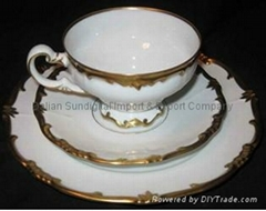 Vintage Antique Cup and Saucer Porcelain Weimar Katharina 41 China 3 pc Set