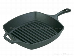 "Lodge Logic 10.5"" Cast-Iron Square Grill Pan W/ Ribbed Bottom For LowFat Cooking"