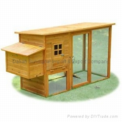 Duplex Wood Chicken Coop Poultry Cage Hen Rabbit House Run Area Ladder Nest Box