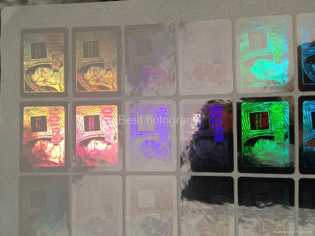 3d Silver AMEX hologram stickers 1