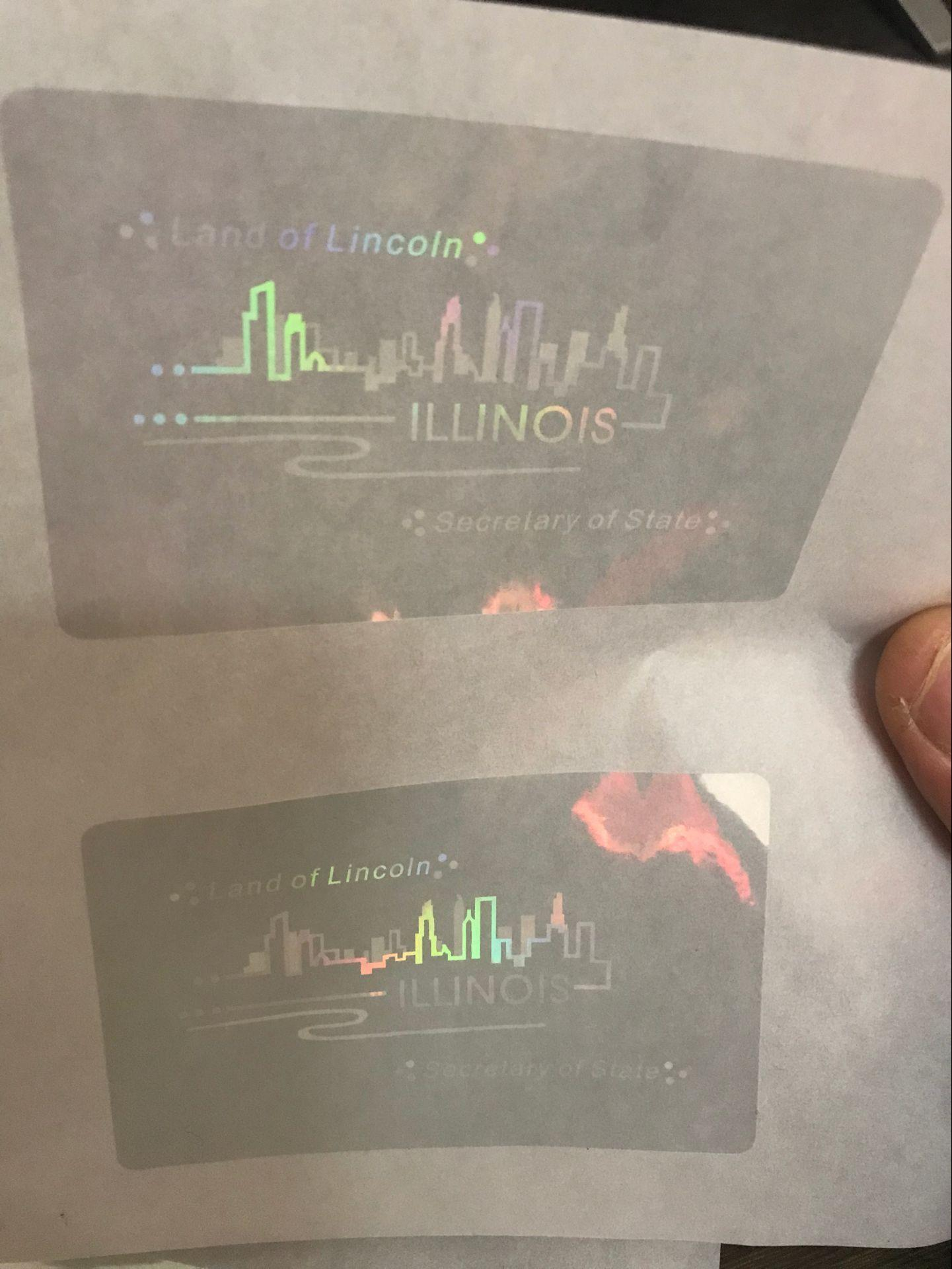 New IL state ID  overlay hologram