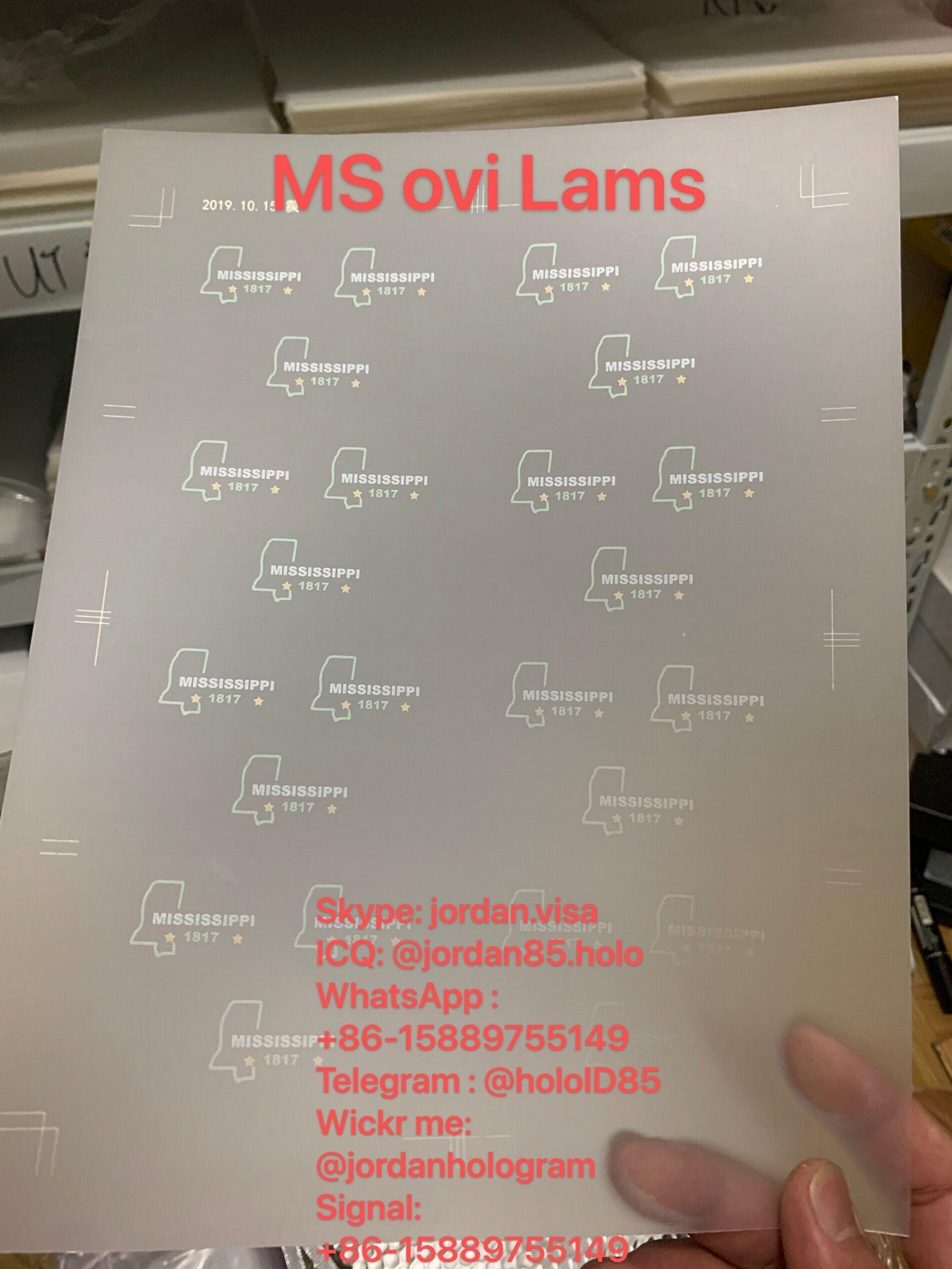 USA Mississippi ID State OVI sheet