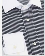 黑白律動純棉長袖襯衫