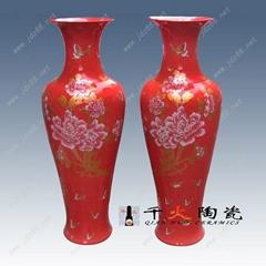 落地紅花瓶