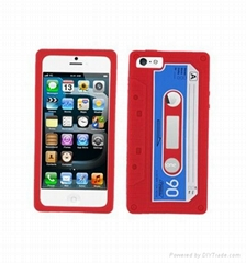 cassette tape silicone cell phone case for iphone 5,silicone case for iphone 5