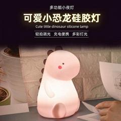 儿童萌兔硅膠燈兔子拍拍燈usb充電LED小夜燈