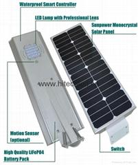 Hitechled All-in-one hybrid solar LED Garden light,Luminarias solares de Leds