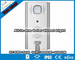 Hitechled 30W all-in-one solar led street light Lampadaire Solaire Tout en Un