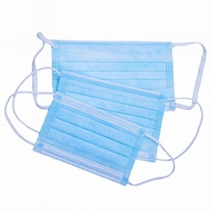 Blue Earloop Pleated 3 Ply Medical Procedure Disposable  Mask