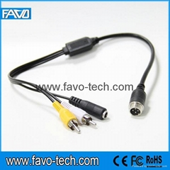 Vehicle Cable 4 Pin Male to RCA Male + DC