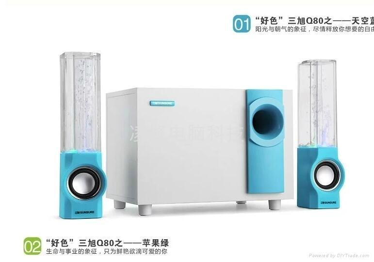 三旭(SQ) Q80七彩灯水舞喷水笔记本电脑音响多媒体2.1低音炮喷泉音箱 2