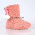 indoor knits woman slipper long boots with pompom minro suede outsole  2