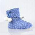 indoor knits woman slipper long boots with pompom minro suede outsole  1