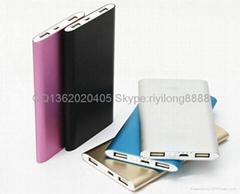 雙插口USB超薄移動電源 工廠批發