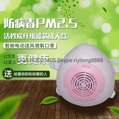 智能電動送風增氧防霧霾口罩 電動防霧霾口罩
