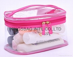 Clear PVC cosmetic bag with handle,vanity case transparent PVC made