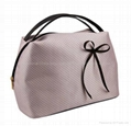 Microfiber cosmetic bag with bownot,ladies makeup bag,beauty clutch bag