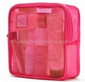 Ladies'mesh carrying bag for cosmetics,fashion mesh overnighter bag,travel kits