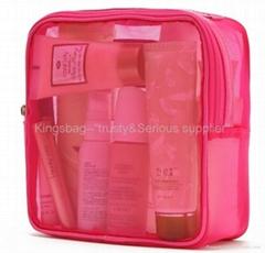 Ladies'mesh carrying bag for cosmetics,fashion mesh overnighter bag,travel kits