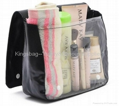 PVC cosmetic bag with flap,wash bag both for women&men,toilet bag w/flap