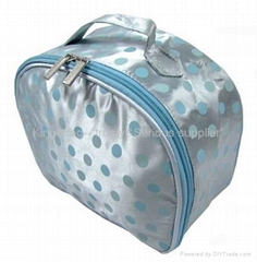 Cosmetic case with round dots prints,satin cosmetic bag,makeup bag