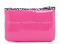 PVC cosmetic bag pink color, vinyl makeup bag ,gift bag