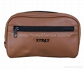 PU toilet bag with pattern,brown cosmetic bag PU made