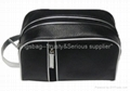 Black leetch pattern PU cosmetic bag both for women and men,