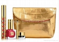 Golden PU cosmetic bag,golden ladies clutch bag,golden makeup bag