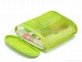 Mesh cosmetic bag green color, green cosmetic bag mesh made,ladies promotion bag