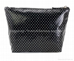 Fashion cosmetic bag canvas covered with PVC