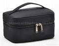Satin travel cosmetic bag fashion style,simple design,black color