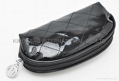 Quilted cosmetic pouch,personal comfirt makeup bag, black shiny PU cosmetics bag